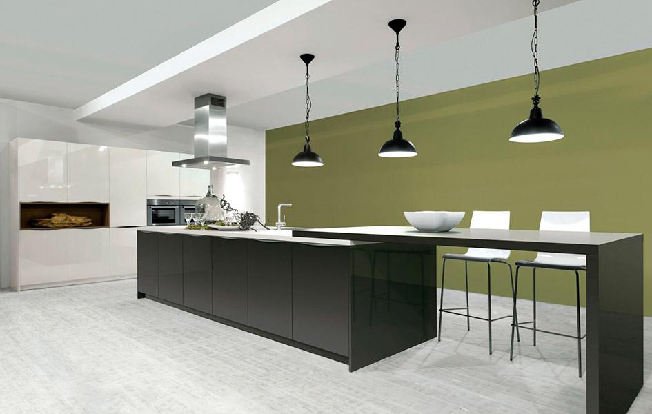Лакированные фасады для кухни - Высокие интерьеры